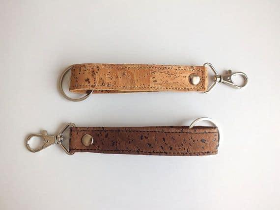 Vegan keychain / cork keychain - eco friendly key chain handmade of dark cork