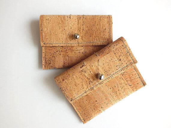Vegan coin purse / card holder - handmade of natural cork