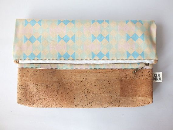 "Vegan fold over clutch / cork clutch / cross body bag - ""Candy"""