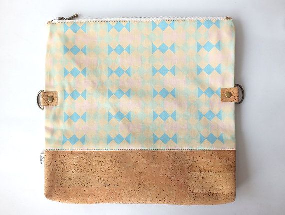 "Vegan fold over clutch / cork clutch / cross body bag - ""Candy"""