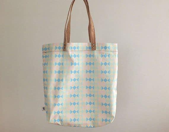 "On sale vegan tote bag / shopping bag - ""Candy"" handmade of organic cotton and cork"