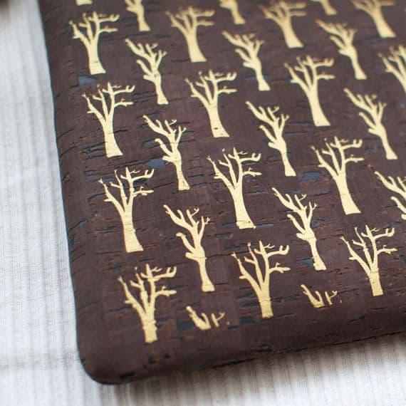 "Cork clutch / Vegan clutch ""Sycamore Trees"" - Made of dark cork and organic cotton"
