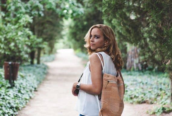 Cork backpack / Vegan backpack / Drawstring backpack / Gymbag - Handamade of natural cork and organic cotton