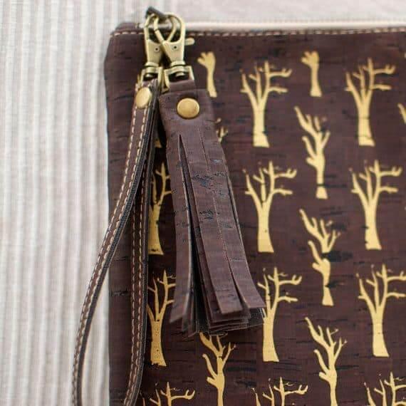 Dark cork tassel bag charm