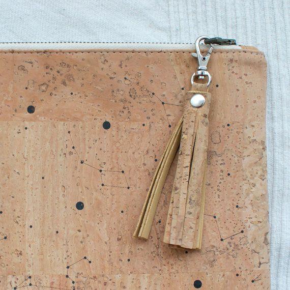 Cork tassel bag charm