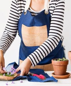 Cork and organic denim apron