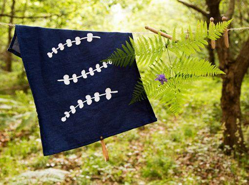 Organic tea towel / individual tablecloth. Eucalyptus print