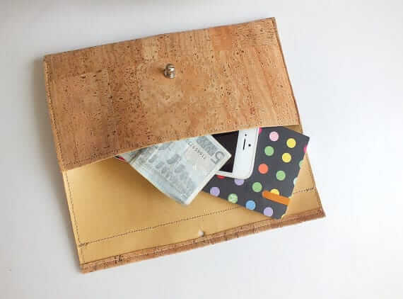 Cork wallet / vegan wallet / cork clutch - handmade of natural cork