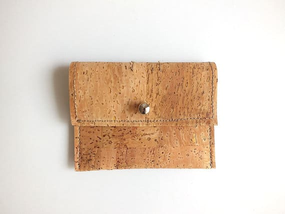 Vegan coin purse / card holder - handmade of natural cork