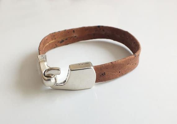 Unisex dark cork leather bracelet / vegan bracelet
