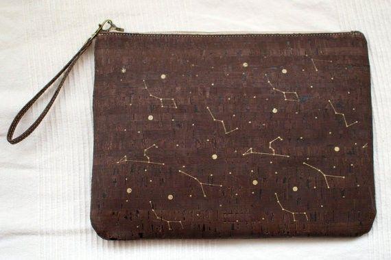 """Cork wristlet clutch / Dark cork clutch / Vegan clutch """"Constellations"""" - Made of dark cork and organic cotton"""