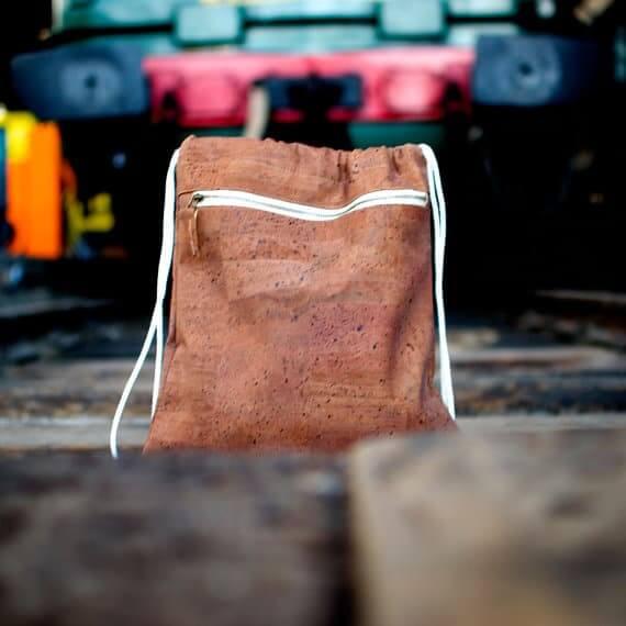 Cork backpack / Vegan backpack / Drawstring backpack / Gymbag - Handamade of dark cork and organic cotton