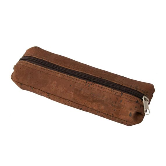 Cork pencil case handmade of dark cork